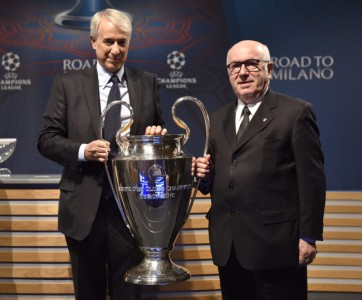 Draw ceremony for the semi-final matches of the UEFA Champions League 2015/16